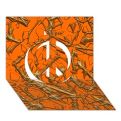 Thorny Abstract, Orange Peace Sign 3D Greeting Card (7x5)