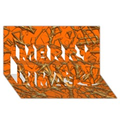 Thorny Abstract, Orange Merry Xmas 3d Greeting Card (8x4)