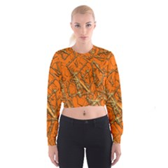 Thorny Abstract, Orange Women s Cropped Sweatshirt