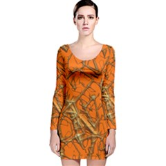 Thorny Abstract, Orange Long Sleeve Velvet Bodycon Dress