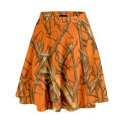 Thorny Abstract, Orange High Waist Skirt