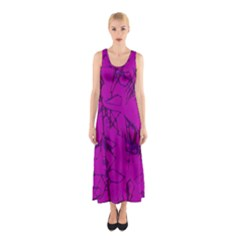 Thorny Abstract,hot Pink Sleeveless Maxi Dress