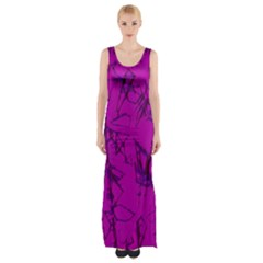 Thorny Abstract,hot Pink Maxi Thigh Split Dress
