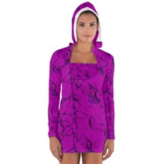 Thorny Abstract,hot Pink Women s Long Sleeve Hooded T-shirt