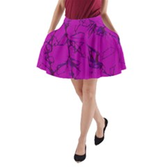 Thorny Abstract,hot Pink A-Line Pocket Skirt