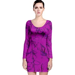 Thorny Abstract,hot Pink Long Sleeve Velvet Bodycon Dress
