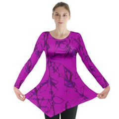 Thorny Abstract,hot Pink Long Sleeve Tunic