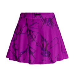 Thorny Abstract,hot Pink Mini Flare Skirt