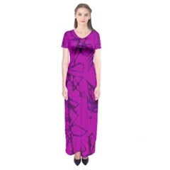 Thorny Abstract,hot Pink Short Sleeve Maxi Dress