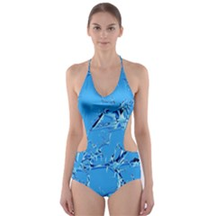 Thorny Abstract,ice Blue Cut-Out One Piece Swimsuit