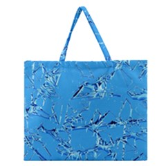 Thorny Abstract,ice Blue Zipper Large Tote Bag
