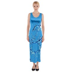 Thorny Abstract,ice Blue Fitted Maxi Dress