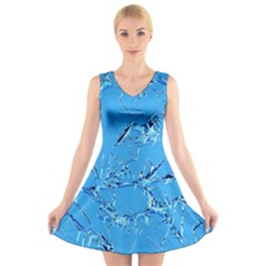 Thorny Abstract,ice Blue V-Neck Sleeveless Skater Dress