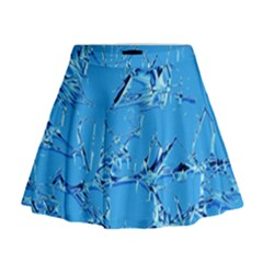 Thorny Abstract,ice Blue Mini Flare Skirt