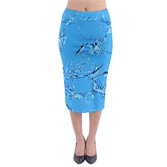 Thorny Abstract,ice Blue Midi Pencil Skirt