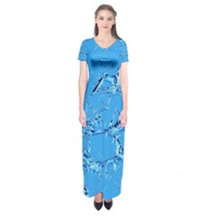 Thorny Abstract,ice Blue Short Sleeve Maxi Dress
