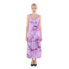 Thorny Abstract,soft Pink Sleeveless Maxi Dress