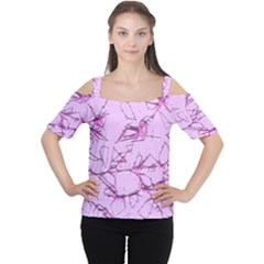 Thorny Abstract,soft Pink Women s Cutout Shoulder Tee