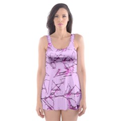 Thorny Abstract,soft Pink Skater Dress Swimsuit