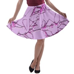 Thorny Abstract,soft Pink A-line Skater Skirt