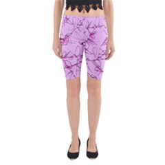 Thorny Abstract,soft Pink Yoga Cropped Leggings