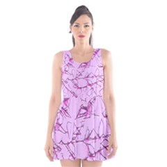 Thorny Abstract,soft Pink Scoop Neck Skater Dress
