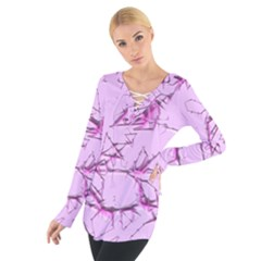 Thorny Abstract,soft Pink Women s Tie Up Tee