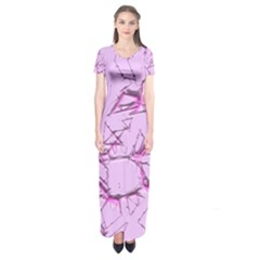 Thorny Abstract,soft Pink Short Sleeve Maxi Dress