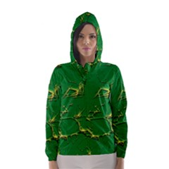 Thorny Abstract,green Hooded Wind Breaker (Women)