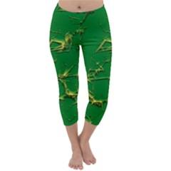 Thorny Abstract,green Capri Winter Leggings