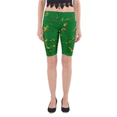 Thorny Abstract,green Yoga Cropped Leggings