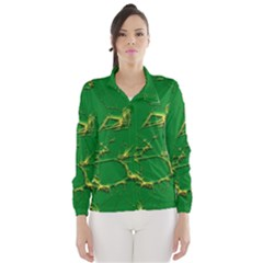 Thorny Abstract,green Wind Breaker (Women)