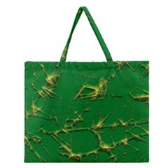 Thorny Abstract,green Zipper Large Tote Bag