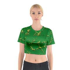 Thorny Abstract,green Cotton Crop Top
