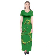 Thorny Abstract,green Short Sleeve Maxi Dress