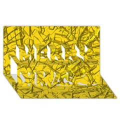 Thorny Abstract,golden Merry Xmas 3D Greeting Card (8x4)