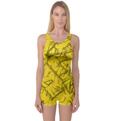 Thorny Abstract,golden One Piece Boyleg Swimsuit