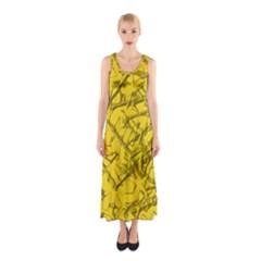 Thorny Abstract,golden Sleeveless Maxi Dress
