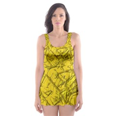 Thorny Abstract,golden Skater Dress Swimsuit