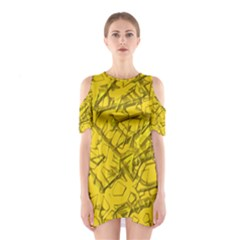 Thorny Abstract,golden Cutout Shoulder Dress