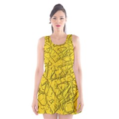 Thorny Abstract,golden Scoop Neck Skater Dress