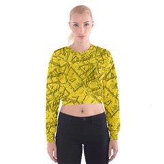 Thorny Abstract,golden Women s Cropped Sweatshirt