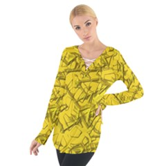 Thorny Abstract,golden Women s Tie Up Tee