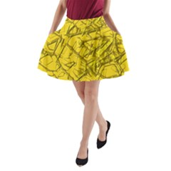 Thorny Abstract,golden A-Line Pocket Skirt
