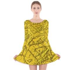 Thorny Abstract,golden Long Sleeve Velvet Skater Dress