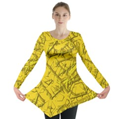 Thorny Abstract,golden Long Sleeve Tunic