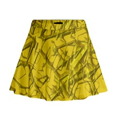 Thorny Abstract,golden Mini Flare Skirt