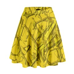 Thorny Abstract,golden High Waist Skirt