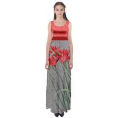 Red Flowers Empire Waist Maxi Dress