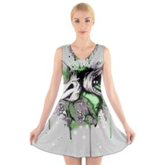Recently Deceased V-Neck Sleeveless Skater Dress